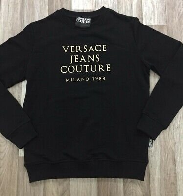 Men's Versace Jeans Real Genuine Jumper Sweatshirt Warm Crew Neck Black Size XL