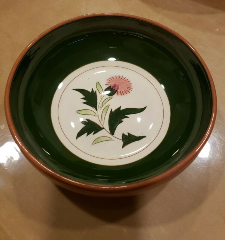 """Vintage 8"""" Stangl Pottery Thistle Pattern Serving Bowl, MID-CENTURY"""