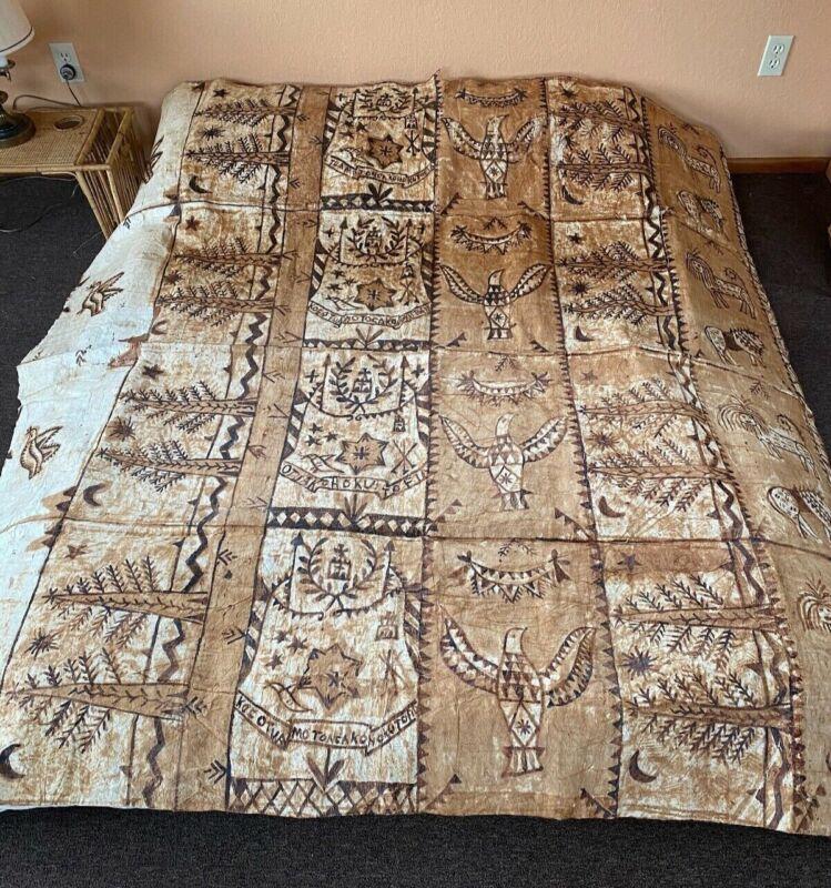"Old Vintage Authentic Tapa Bark Cloth NgatuExtra Large 74""x78"""