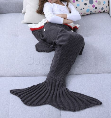 US Stock Kids Adult Knit Mermaid Tail Blanket Soft Crochet