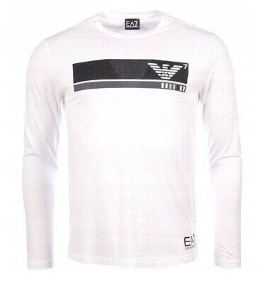 Armani Weiß Langarm (EMPORIO ARMANI EA7 Herren Langarmshirt T-Shirt Longsleeve Weiß S,M,L,XL,XXL,3XL)