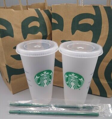 2 BRAND NEW Starbucks 2019  Frosted Plastic Tumbler Venti 24oz To Go Cold Cups