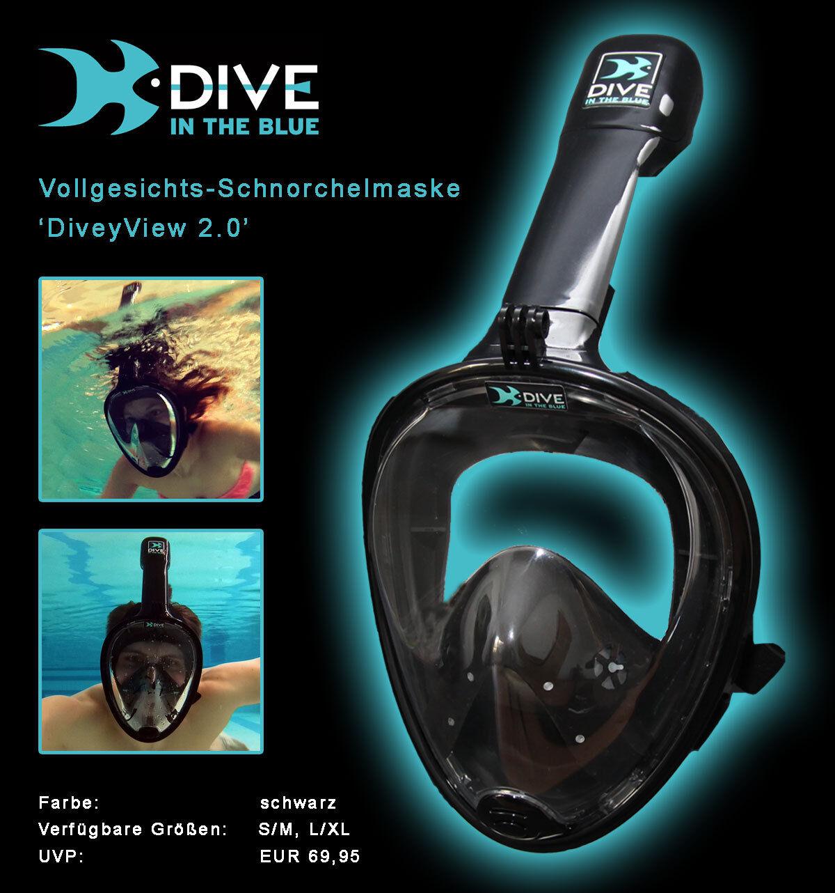 Vollgesichts-Schnorchelmaske DiveyView 2.0 – Schnorchel-Set, Vollmaske für GoPro