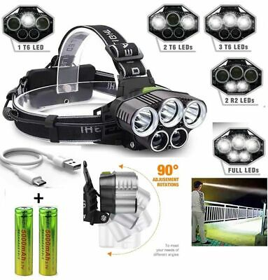 250000LM 5X T6 LED Headlamp Rechargeable Head Light Flashlight Torch Lamp USA - Light Flashlight