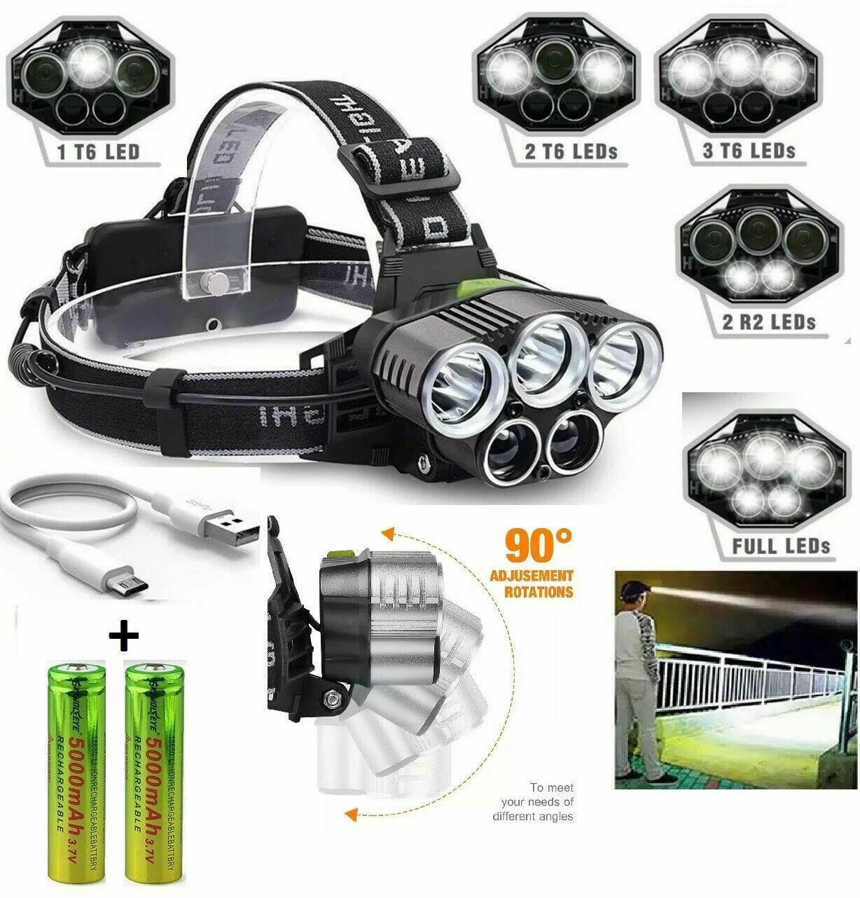 250000LM 5X T6 LED Headlamp Rechargeable Head Light Flashlight Torch Lamp USA Camping & Hiking