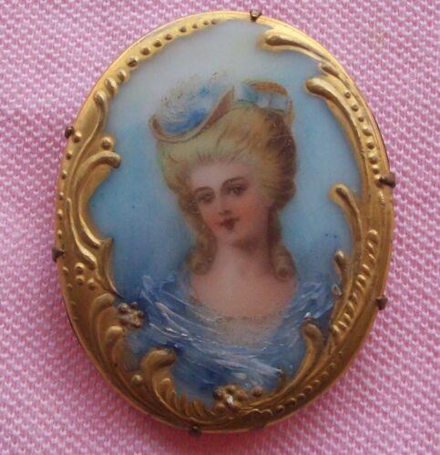 Old Vintage Antique Victorian Gold Gilt Limoges Marie Antoinette Portrait Brooch