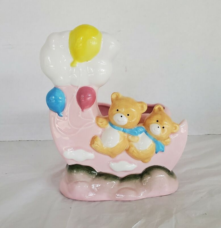 VTG Nursery Bear Bank Planter  Decor Succulent Bears Balloons Clouds Ceramic
