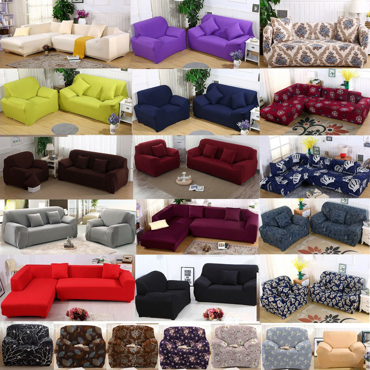 Fashion Solid color Elastic Sofa Cover Set Couch Stretch ...