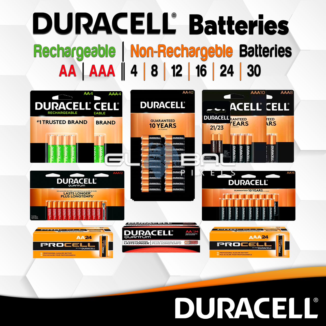 Duracell Battery AA AAA 4 8 12 24 Rechargeable / Non-Recharg