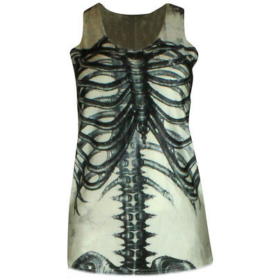 Xray Kostüm (SKELETON WOMENS HALLOWEEN VEST TOP FANCY DRESS BONE LEGGINGS COSTUME XRAY WHITE)