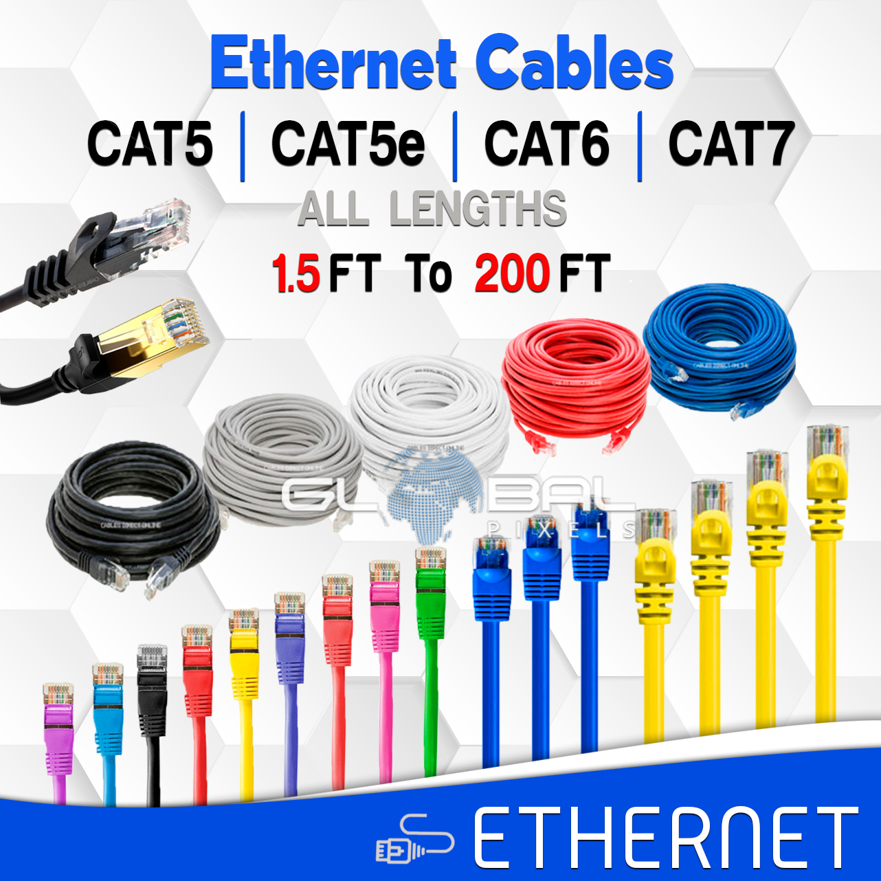 Ethernet Cables CAT5 CAT5e CAT6 CAT7 Cable 3FT to 200FT LAN