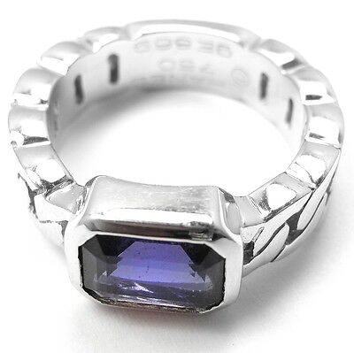 Authentic! Chanel 18k White Gold Tanzanite Band Ring