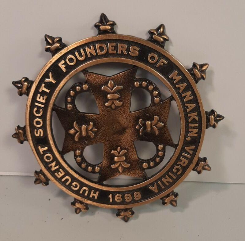 Brass Huguenot Society Founders of Manakin Virginia Plaque