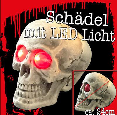 Halloween Schädel / Totenkopf Deko Skelett LED Licht Augen 368