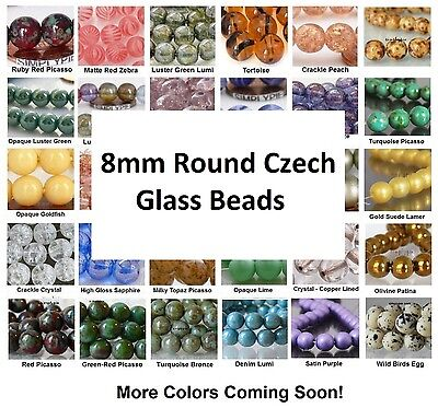8mm Druk Glass Beads (++ 8mm Round Druk Czech Glass Beads 20 Choose Color New)