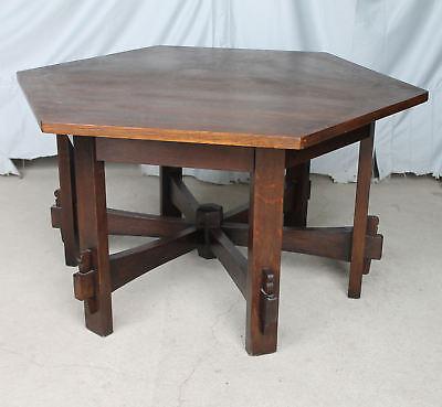Anatique Mission Oak Hexagonal Library Table L & JG Stickley Arts & Crafts