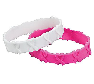 24 Pink Ribbon 3D Rubber Bracelets Breast Cancer AWARENESS Find CURE Survivor](Breast Cancer Awareness Bracelets)