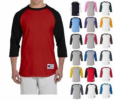 Champion T137 Raglans Baseball Shirt Jersey Mens Tag-less T-Shirt 3/4 Sleeves