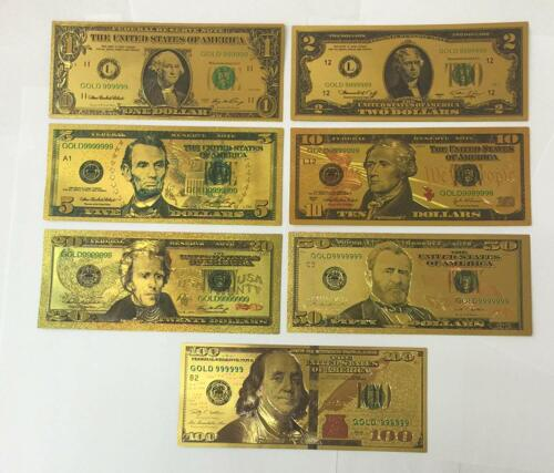 7 Pcs 24K Gold Plated Commemorative Notes Dollar US Bills Durable US SELLER
