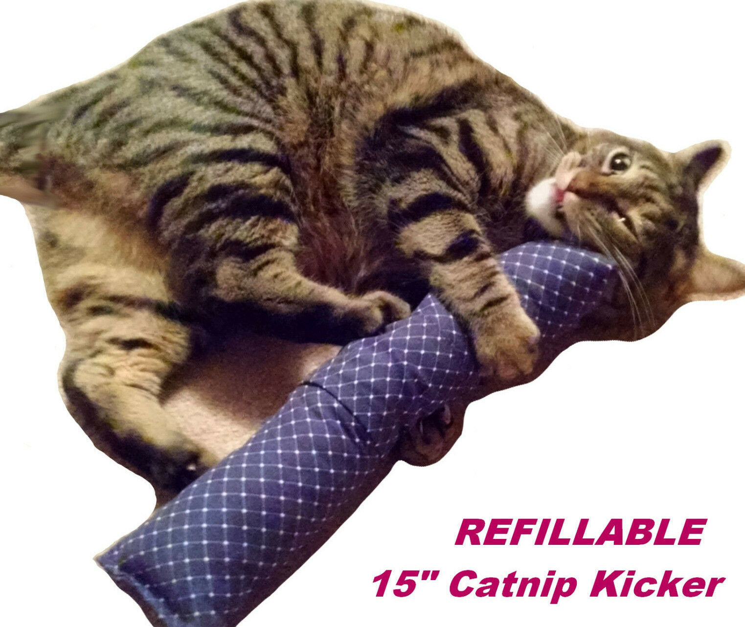 "REFILLABLE 15"" Catnip Cat Kicker Toys / Kitty Kick Sticks /"