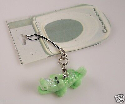 Fuzzy Alligator - Alligator Aligator fuzzy glittery green cell phone charm or purse charms