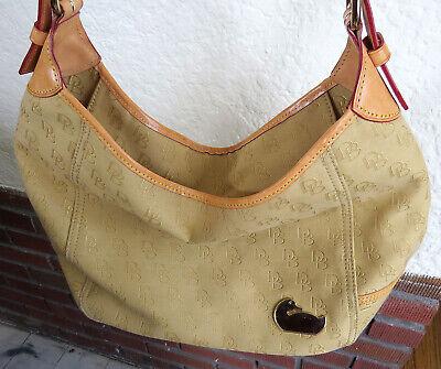Dooney Bourke DB Signature Tan Canvas Leather Trim Tote Handbag Shoulder Purse Signature Tan Tote Handbag