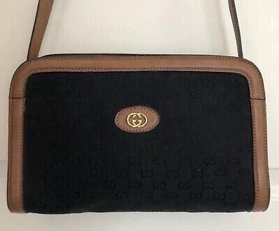 Vintage 1980s Gucci Bag Black Logo Fabric Tan Leather Trim And Strap Rare