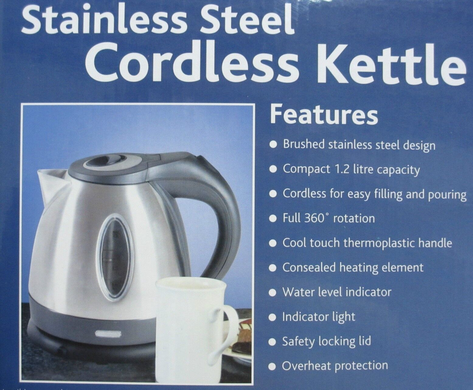 Stainless Steel Cordless Kettle - Low Wattage Kettle - 1.2Litre ...