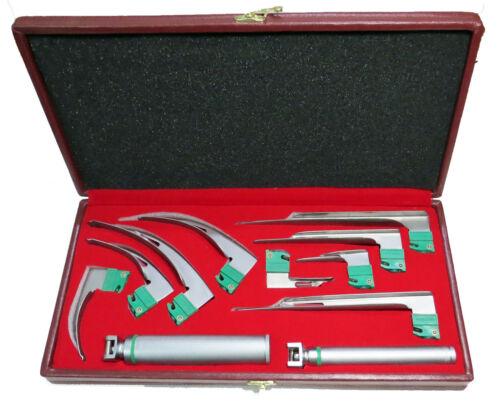 Fiberoptic Laryngoscope 9 Blades Mac Miller + 2 Handle Standard Pinlight + Box