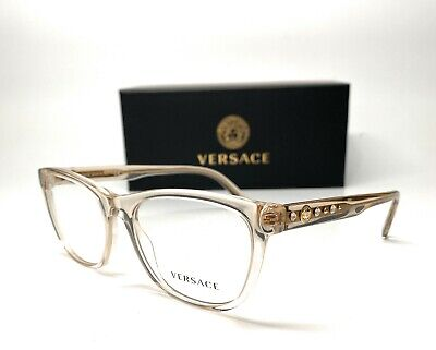 Versace VE3263B 5288 Transparent Beige Demo Lens Women Pillow Eyeglasses 54mm
