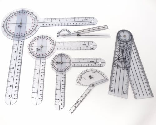 6 PIECE SPINAL GONIOMETER PROTRACTOR RULER 360 DEGREE Set 12 inch 8 inch 6 inch