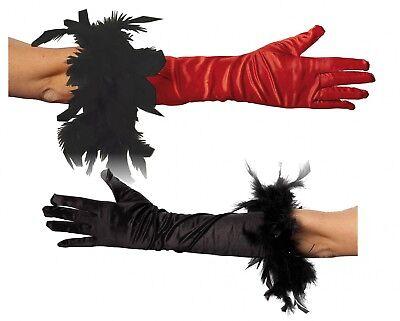 Kostüm Handschuhe lang schwarz o. rot mit schwarzer Boa Karneval Fasching ()