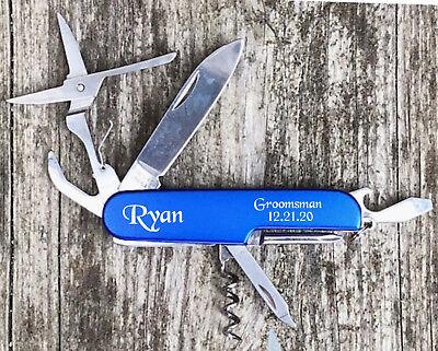 Personalized Pocket Knife Blue Multi Tool Engraved Free Groomsman Best Man Gift