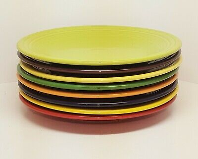 Fiestaware mixed colors Dinner Plate Lot of 8 Fiesta 10.5 inch plates -