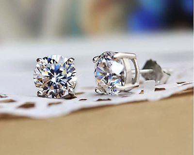 2CT Created Diamond 14K White Gold Round Cut Stud Earrings