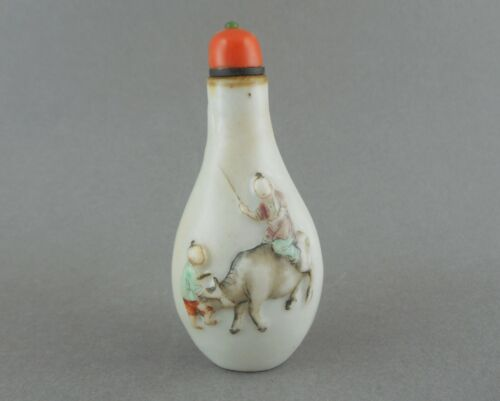 Antique Chinese Qing 19th c Porcelain Snuff Bottle Coral Cap Figures in Relief