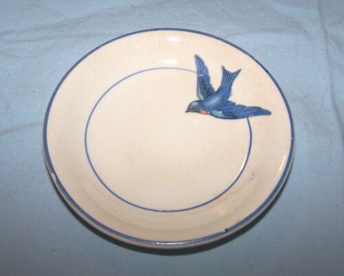 Vintage Bluebird Butter Pat Plate-Unmarked-3 1/4 inches across
