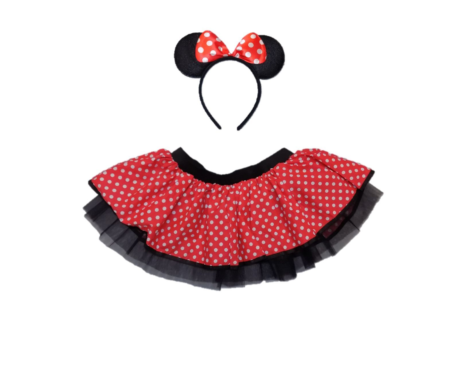 4ad39799c422 KIDS MINNIE MOUSE TUTU SKIRT HEADBAND 80S FANCY DRESS RED WHITE POLKA DOT  DANCE