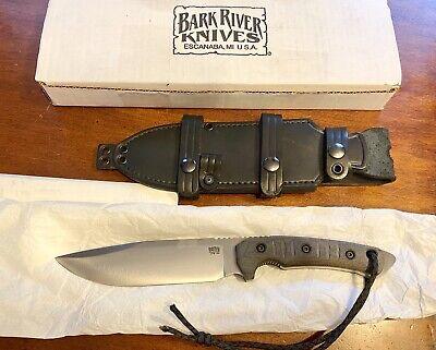 BARK RIVER / FOBOS LEGION KNIFE Green Canvas Micarta CPM 154 Blade