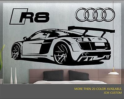 R8 GT Racing Sports Car Back View With Logo Removable Wall Vinyl Decal Sticker for sale  Shipping to Canada