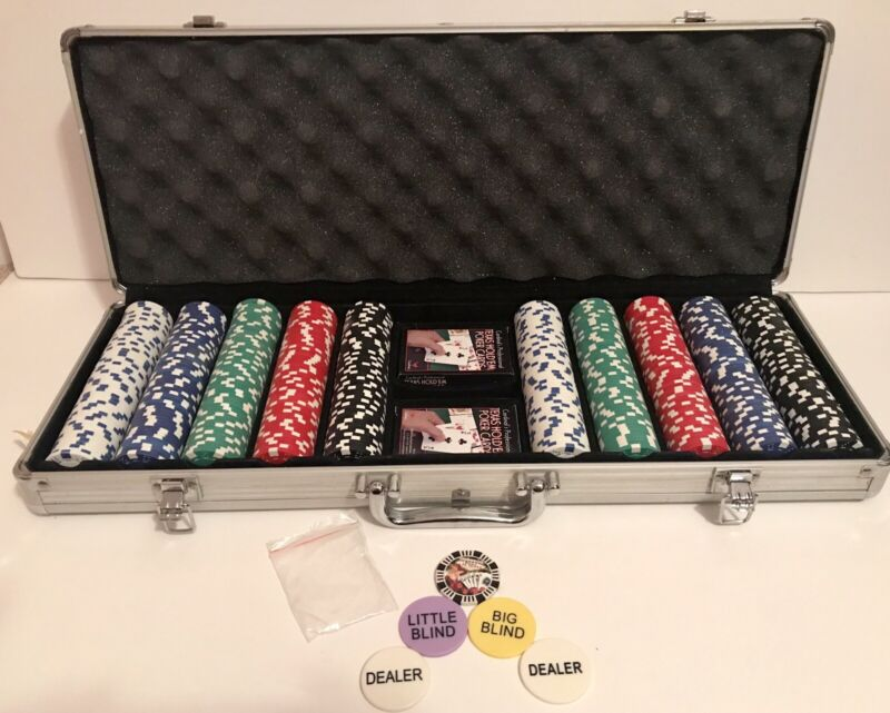 Custom Poker Chip Set Of 500 Printed both sides of the chips, Metal Carry Case