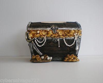 Pirate treasure chest coin bank table top nautical decor piggy bank - Nautical piggy banks ...
