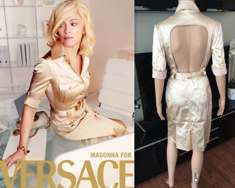 Gianni Versace Vintage Ss05 Runway Sexy Open Back Dress Sz 42 Iconic!!!