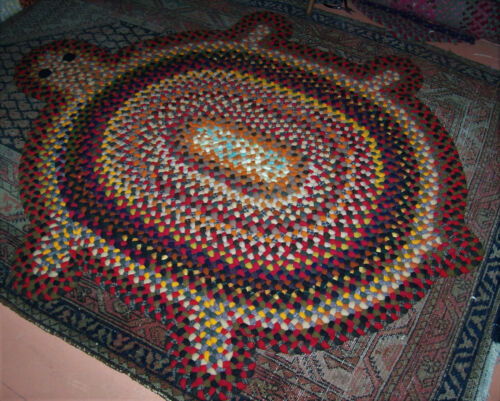 New Not Antique Hand Handmade Folk Art Turtle Wool Braided Rug