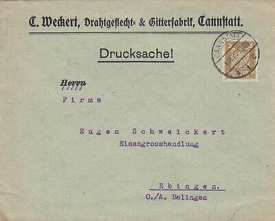 CANNSTATT, Briefumschlag 1926, C. Weckert Drahtgeflecht-Gitter-Fabrik