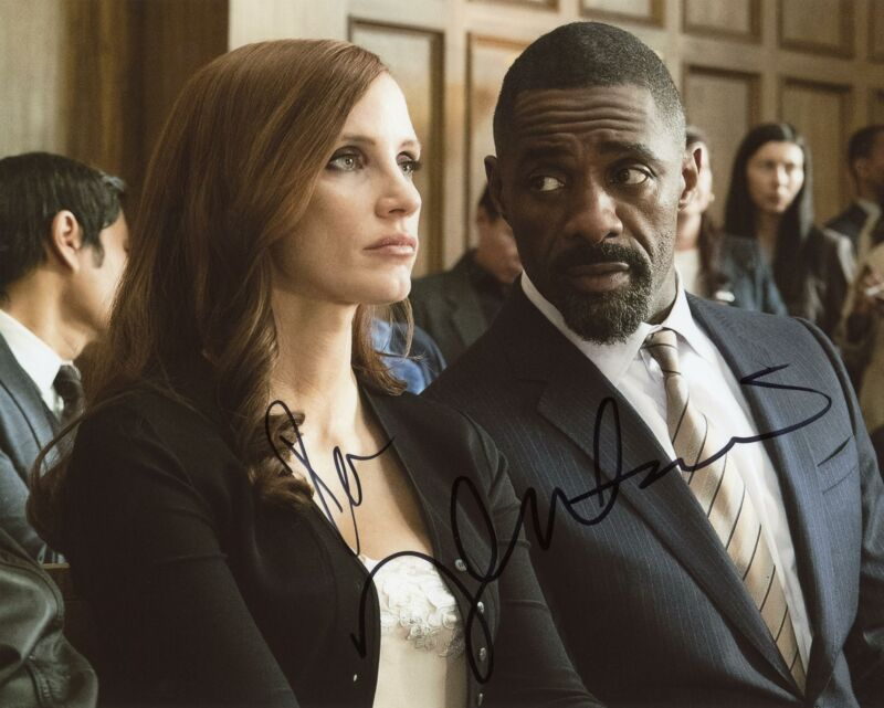 "Jessica Chastain & Idris Elba ""Molly's Game"" AUTOGRAPH Signed 8x10 Photo"