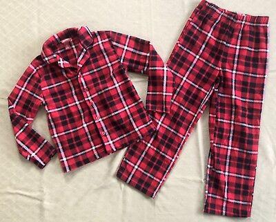Boys Arizona Jeans 2 Piece Pajama Set Size Small 6/7 Black Red Plaid Soft Warm