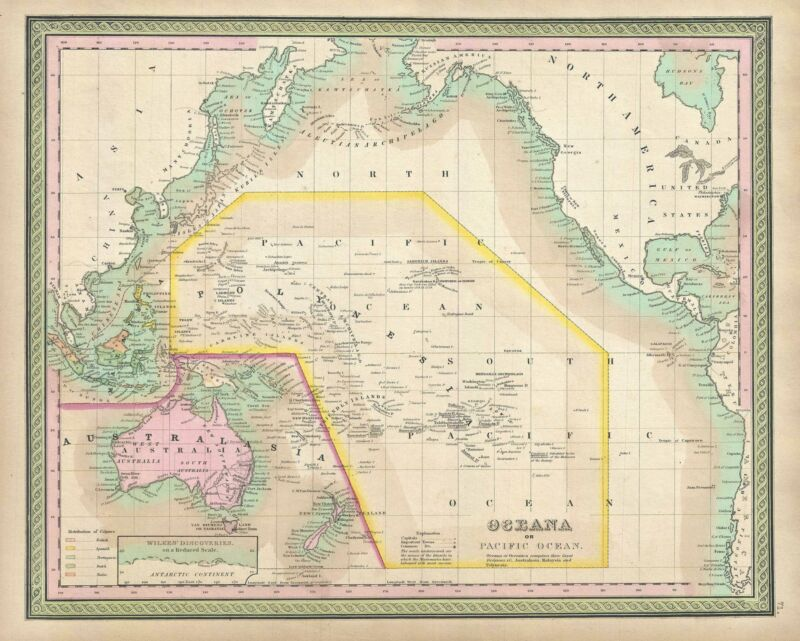 1849 Mitchel Map of the Pacific Ocean and Australia