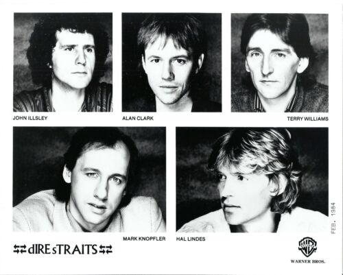 Dire Straits press kit, 1984, COOL official 8x10 GLOSSY photo! 12-page TIMELINE