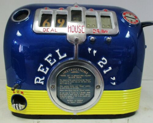 "REEL ""21"" FIVE REEL TRADE STIMULATOR GUM BALL SLOT MACHINE Circa 1930"